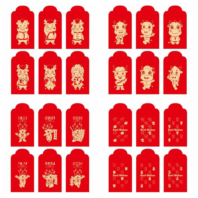 Paquetes de Lucky Invoz China Sobre rojo Paquete rojo para 2021 Año del Año Nuevo Año Nuevo Festival de Primavera Boda Boda Bolsa de regalo Zyy410