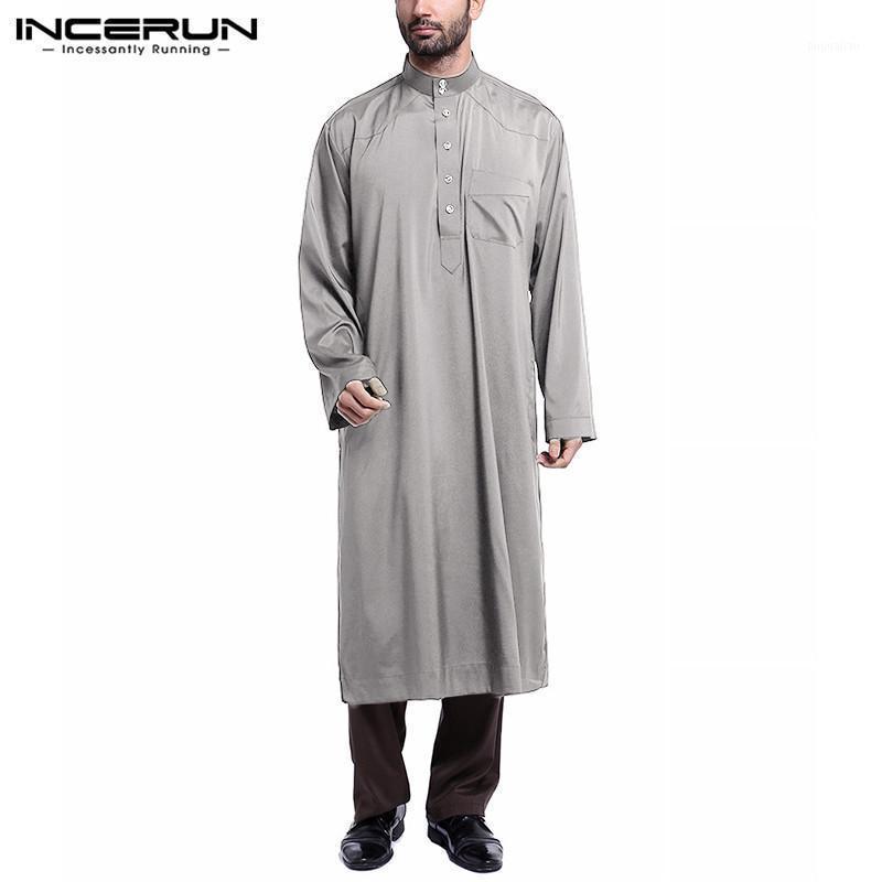 Abbigliamento etnico Incerun Men Vintage Tasche Vintage SETS MUSULLULLO SOLIDO SOLIDA MANICHE A MANICHE LUNGA COLLO CON BLOFE PANTALONI ELASTICO Vestita Islamica Saudita S-5XL1