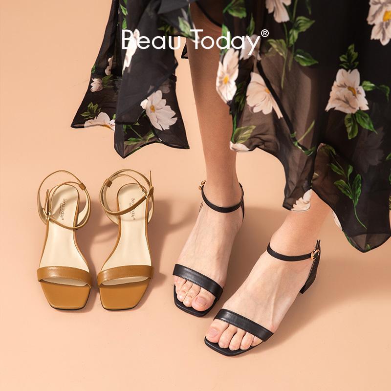 BeauToday Gladyatör Sandalet Kadınlar Hakiki İnek Deri Ayak bileği Toka Kayış Kare Ayak Yaz Bayan Med Topuk Ayakkabı El yapımı 31078 0928