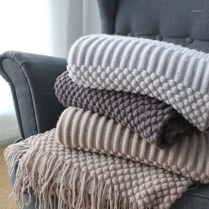 27 Spring Knitted Air Conditioning Blankets Nap Throw Blankets Nordic Style Solid Color Khaki Grey Blanket for Bed Sofa1