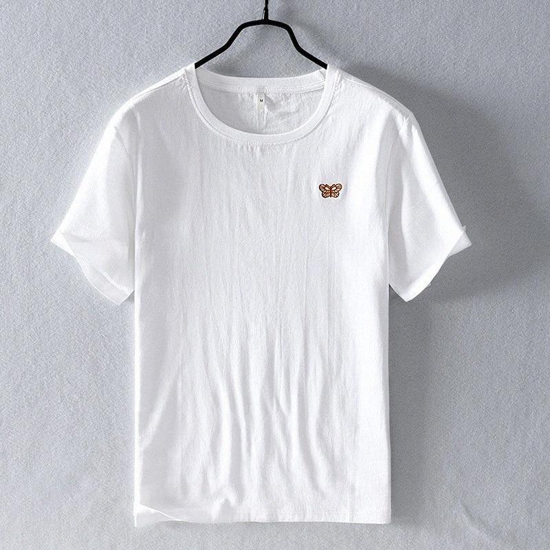2020 Летняя футболка Мужские бабочки Вышивка Мода белый Tshirt вскользь с коротким рукавом Белье Плюс Размер Топы Y2804 34It #