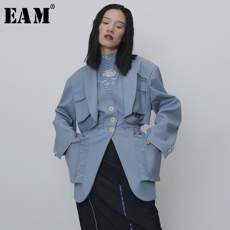 [EAM] Kadınlar Mavi Splitlit Cep Büyük Boy Siper Yeni V-yaka Uzun Kollu Gevşek Fit Rüzgarlık Moda İlkbahar Sonbahar 1 H264 201111