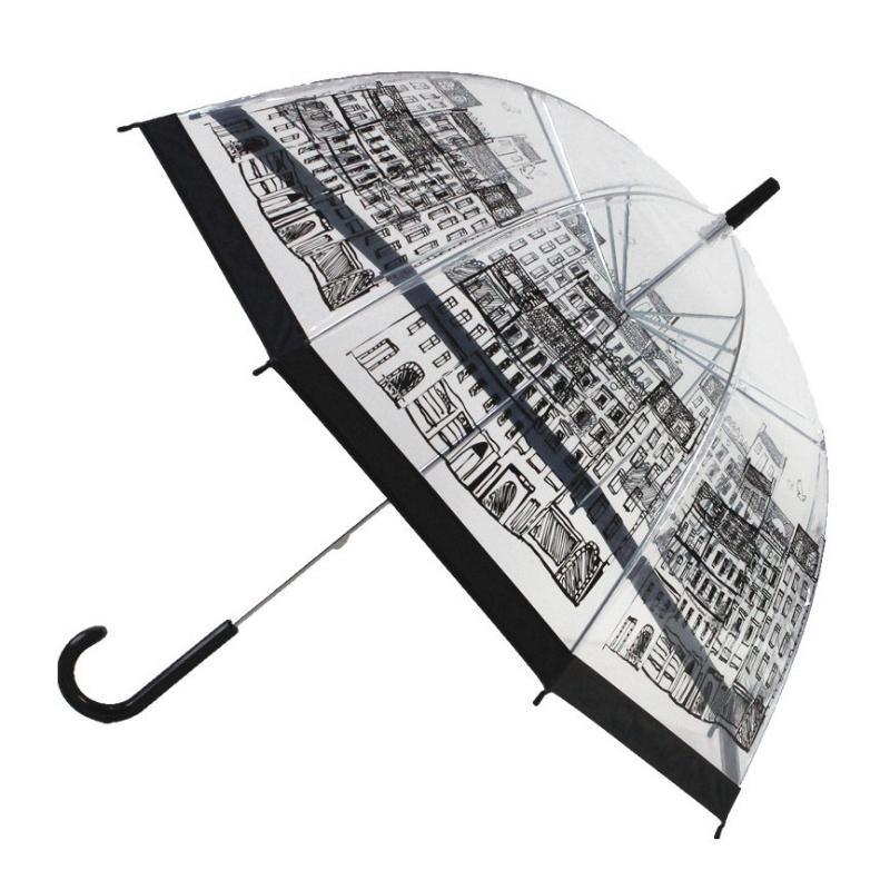 Safebet прозрачная птица клетка зонтика мультфильм здание зонтики полуавтоматический аполон город зонтик длинная ручка детские зонтики Y200324