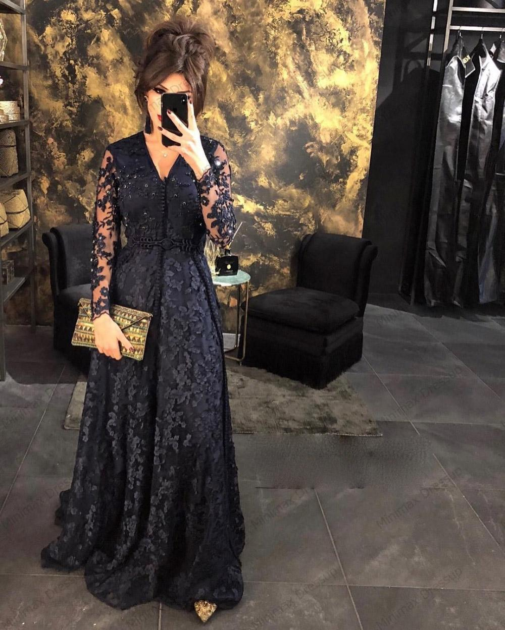 Siyah Dantel Fas Kaftan Abiye Uzun Kollu Müslüman Arapça Dubai Balo Abiye Elbise Custom Made