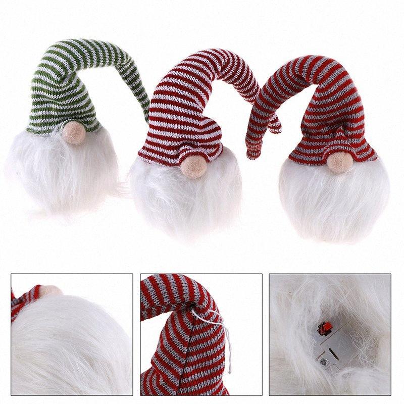1PC LED de Navidad gorra de rayas de luz sin rostro de la muñeca pequeña figura decoración del ornamento Shine Gnome Viejo muñecas de Navidad decoración C54z #