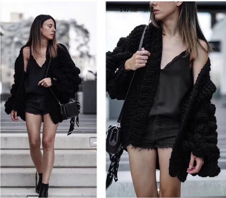 Causey 2018 Mohair Hand Knitted Cardigan Sweater Women Coarse Sweater Women Winter Lantern Sleeve Cardigan Female sueter mujer
