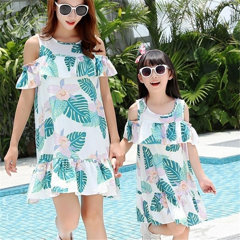 Madre madre hija nueva bohemia algodón volante vestidos familia americana mujeres niñas vestido lindo vestidos h0846 y200713