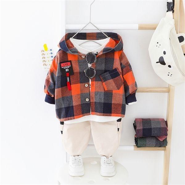 Tout-petit garçon Vêtements Set Big Plaid à capuche + Pantalons élastiques Bébés garçons Vêtements Printemps Automne Taille normale Enfants Outwear X0923
