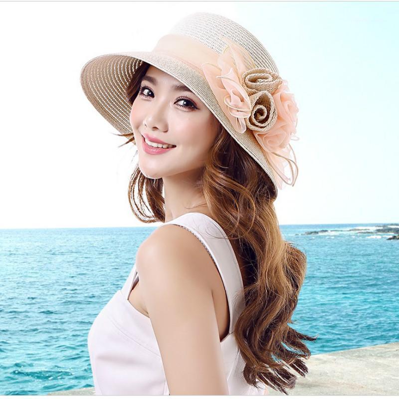 Широкие шляпы Breim Женские летние солнца шляпа для взрослых затенение солнцезащитный крем шапки девушки складной соломенный путешествие Suncap студент B-76491