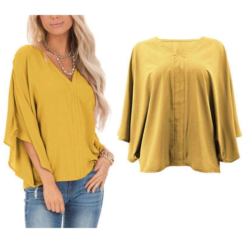المرأة البلوزات قمصان بلوزة أنثى الملابس فضفاضة زائد الحجم الصلبة batwin ثلاثة أرباع الأكمام الخامس الرقبة البلوز قمم قميص 2xl