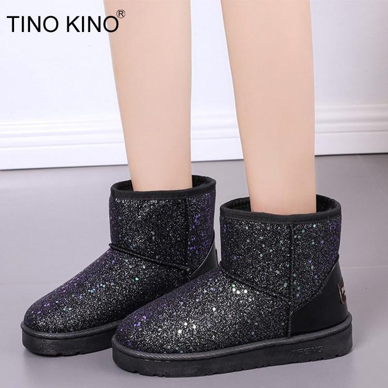 النساء بريق الثلج Sheoes المرأة منصة الدافئة أحذية الكاحل قصيرة القطيفة الناعمة السيدات التمهيد الفراء بلينغ أنثى الاحذية 2020 الجديدة