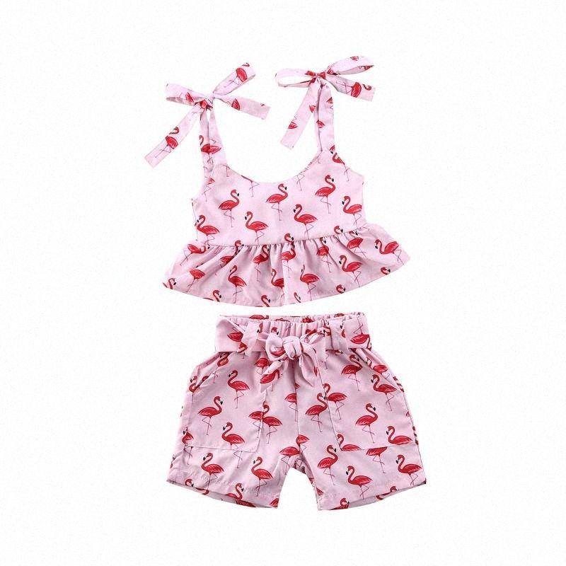 0-24M Flamingo Newborn Infant Baby Girls Clothes Vest Top Shorts Summer Outfit Set 5Az3#