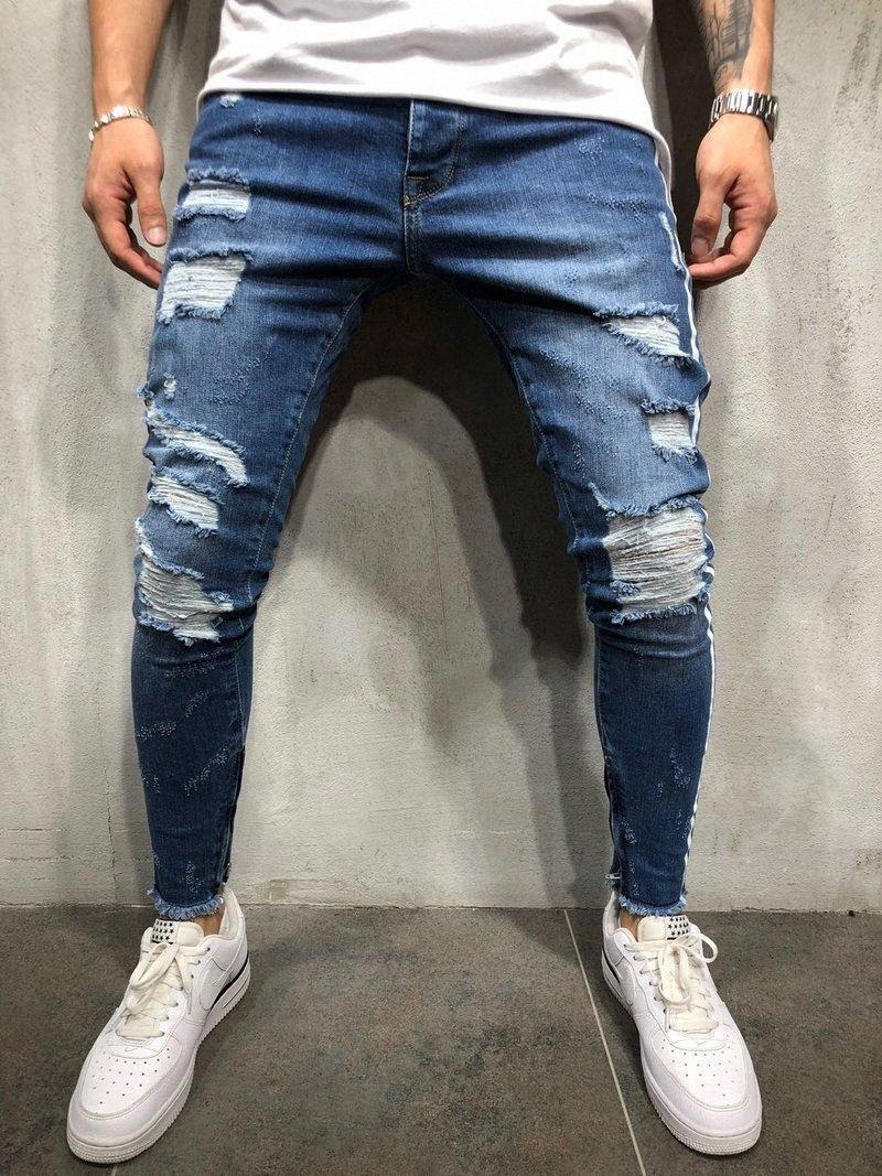 Mens Broken Pencil Jeans High Street Robin Blue Jeans White Stripe Skinny Hole Denim Pants Asian Size r6GR#