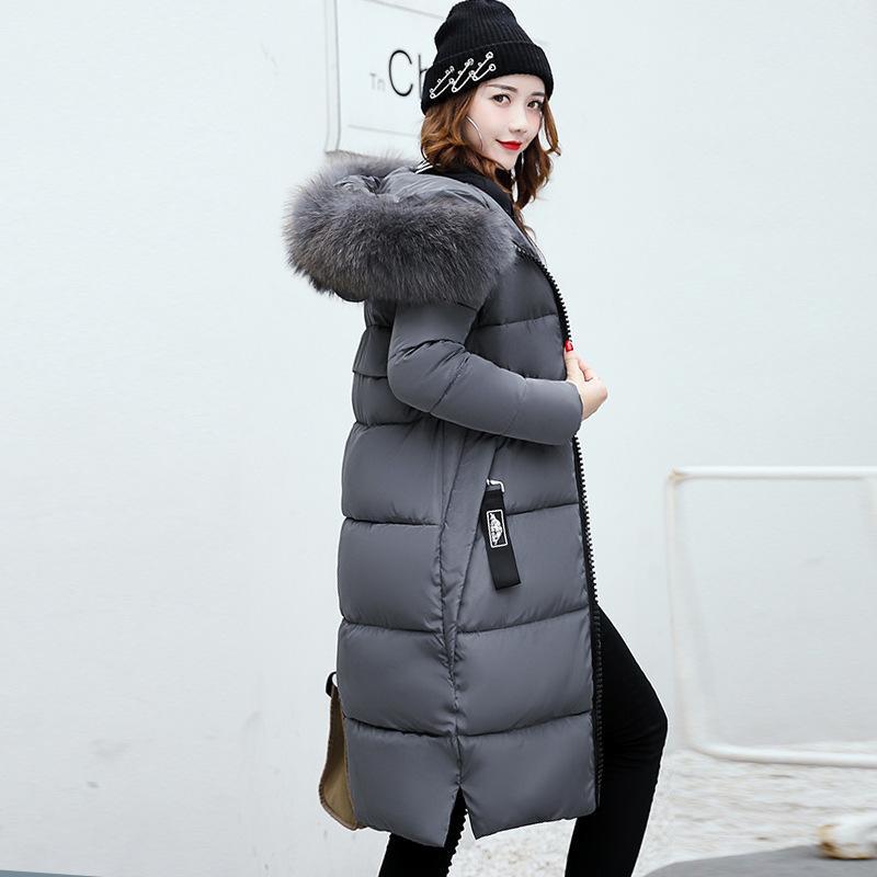 Chaqueta de invierno Anbenser Mujeres largo Parka cuello de piel delgada ocasional Mujer Abrigos y chaqueta Puffer Escudo del tamaño extra grande 201027 acolchado largo Outwear