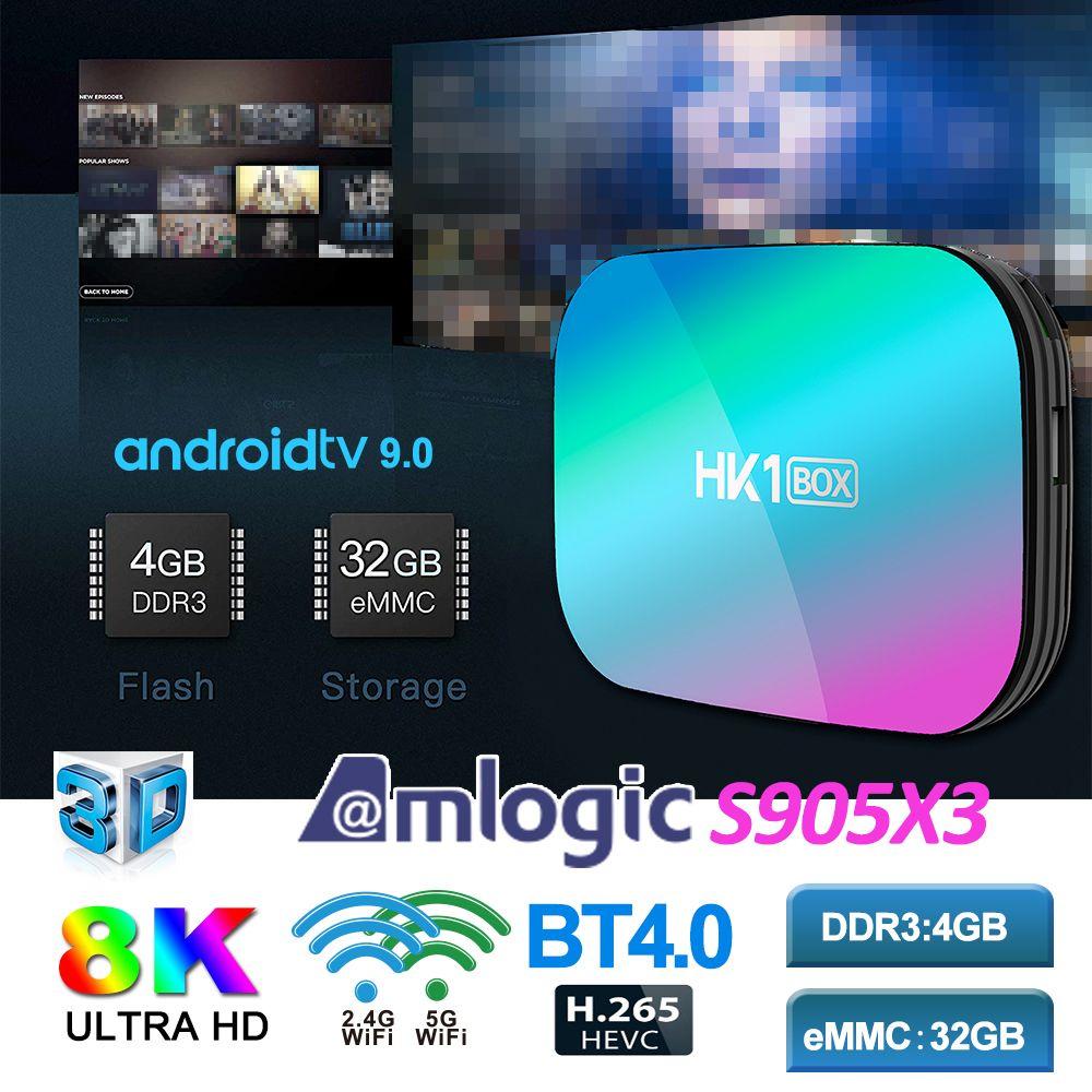 HK1 Box Android 9.0 Caixa de TV inteligente Amlogic S905x3 com 5G Dual WiFi 1000M BT4.0 Set Caixa superior 8K Media Player