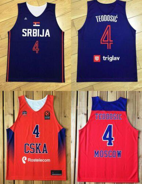 NCAA MILOS TEEODOSIC # 4 Serbia SRBIJA MOSCOW CSKA Baloncesto Jersey EUROLEAGUE Imprimir CUSTOM CUALQUIER NÚMERO NÚMERO 4XL 5XL 6XL JERSEY