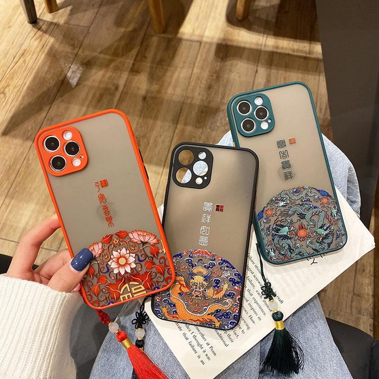 Sollievo Custodie in stile cinese in stile cinese con pendente nappa per iPhone 12 11 Pro Promax XR XS Hard PC Casi Matte Custodie