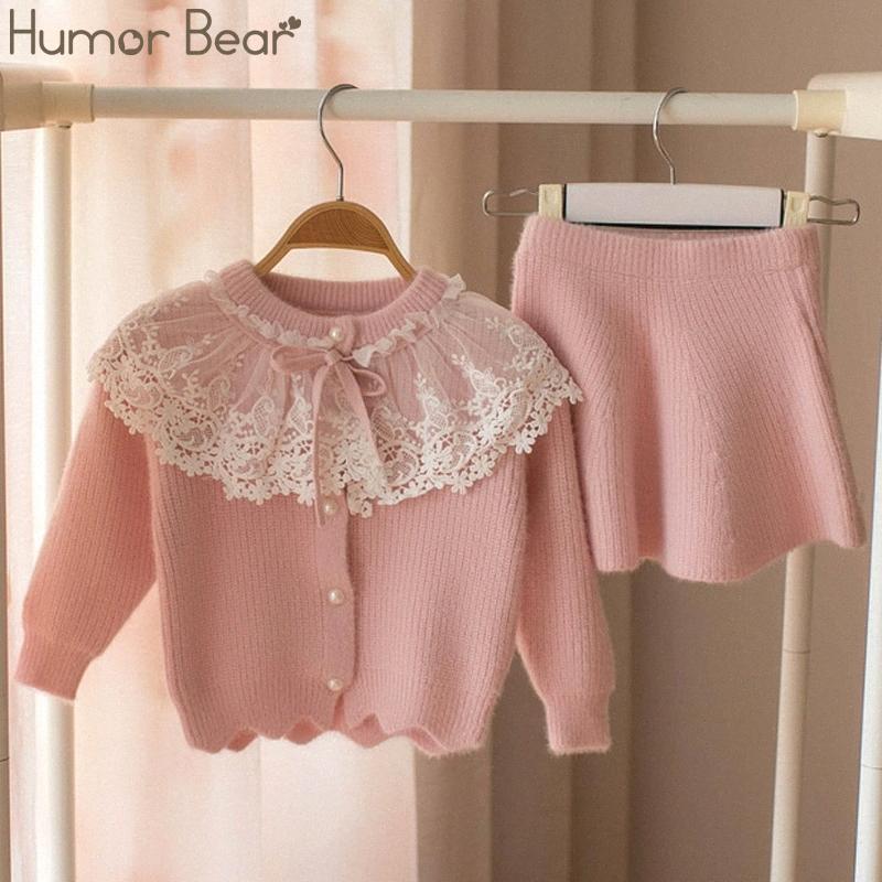 Humor oso 2020 de otoño invierno de los niños del suéter Establecer las niñas de encaje color sólido a largo suéter + falda corta 2pcs de las traje ropa 4BEq #