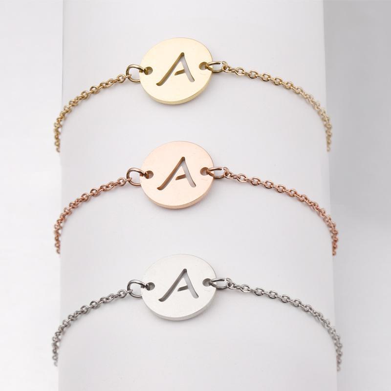 Stainless Steel Bracelet Tiny A-Z 26 Letter Initial Bracelet for Women Men Jewelry Wholesale