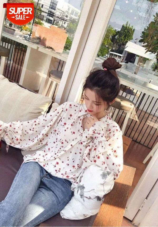 Autunno donna estate camicia femminile boho stampa floreale manica lunga camicetta baggy top ladies puff sleeve camicia chiffon corea casual # 4e7s