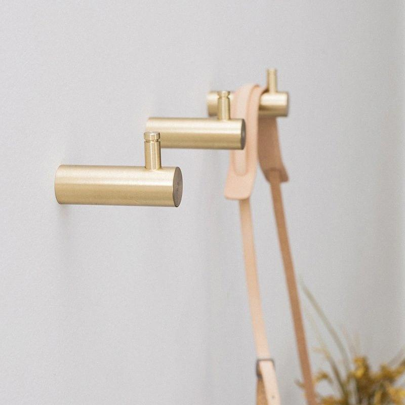 Latón macizo colgadores de puerta Escudo Sombrero Percha Cocina Baño Rust prueba Ganchos nórdico minimalista capa de oro cepillado gancho Lgh6 #