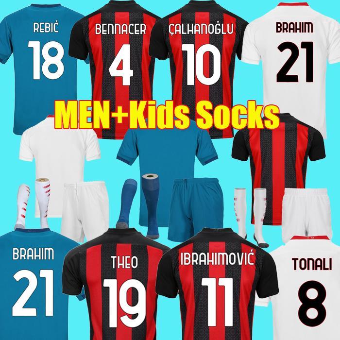 20 21 maillots de football AC Milan MANDZUKIC IBRAHIMOVIC BRAHIM TONALI THEO BENNACER REBIC ROMAGNOLI maillot de football chemises hommes enfants Kit uniformes