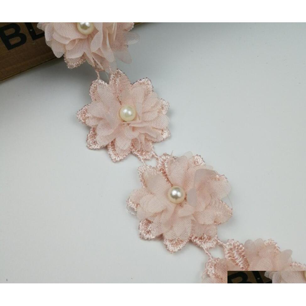 15 cortile rosa perla fiore chiffon tessuto di pizzo rivestimenti nastro per abbigliamento cucito fai da te bridal wedding QyLDUT Garden2010