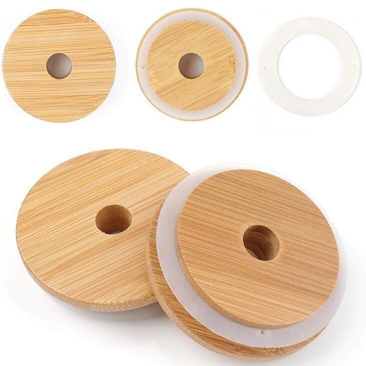 Mason Kapaklar Yeniden kullanılabilir Bambu Mason Kavanozlar Canning'le İçme Kavanozları Kapak KKB2868 için Straw Hole ve Silikon Seal ile Kapaklar Caps