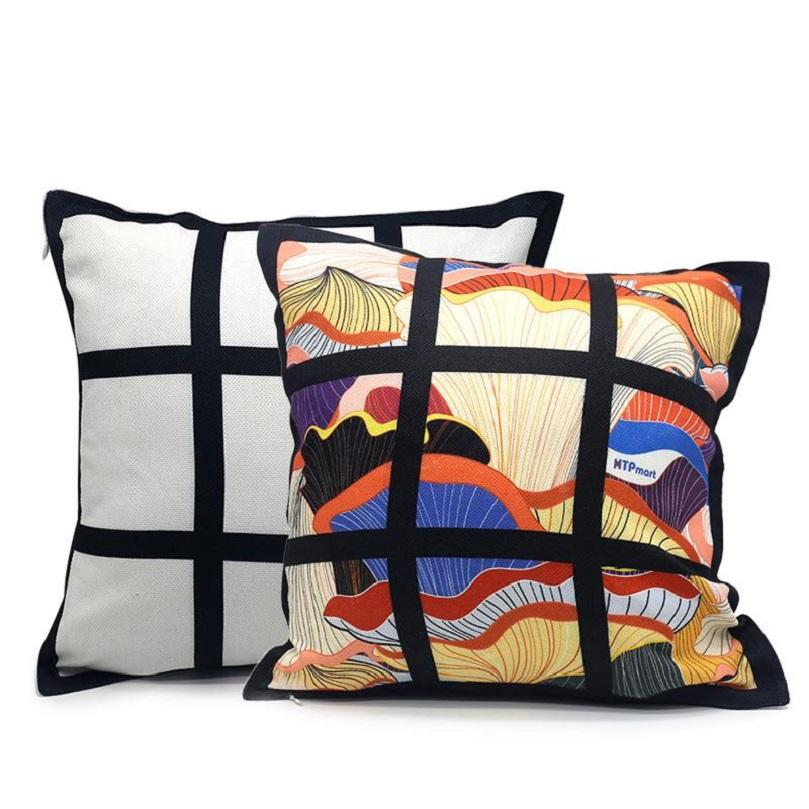 9 panel pillow cover Blank Sublimation Pillow case black grid woven Polyester heat transfer cushion cover throw sofa cases 40*40cm CCA3328