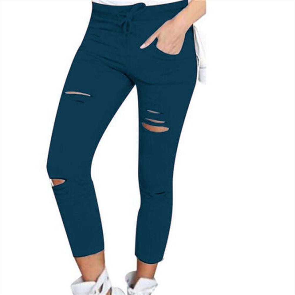 Plus Size calças cor das mulheres sólidos com cordão de cintura alta lápis calças rasgadas magro das mulheres calças calças desportivas Leggings