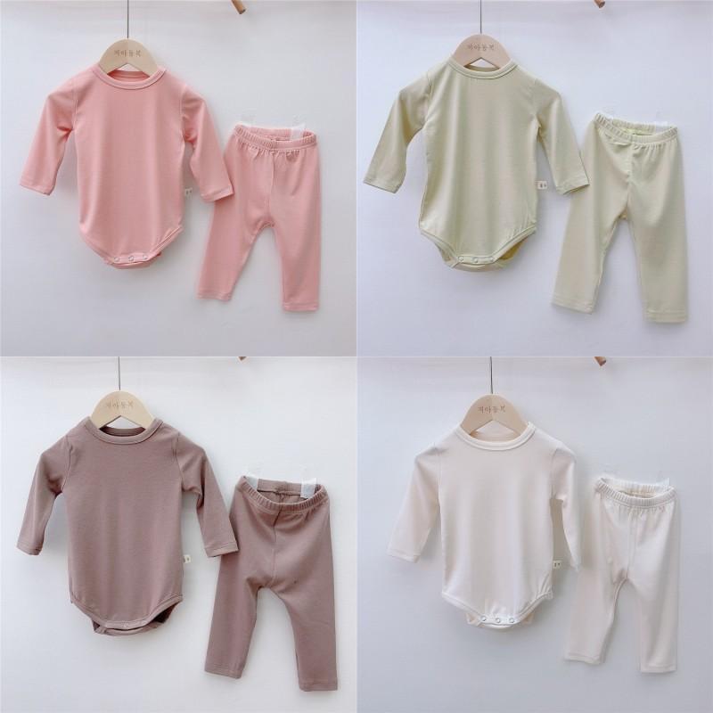 TLK 7 색 INS 가을 유아 유아 아이들 소년 소녀 잠옷 빈 Unisex 긴 소매 일반 rompers + 바지 2 피크스 아기 정장 570 K2