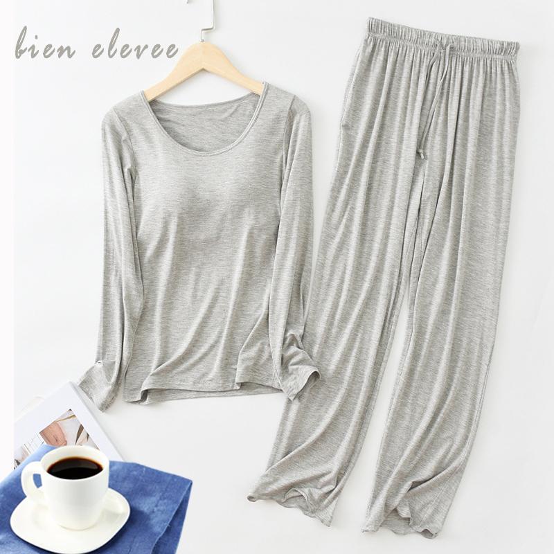 Modal Pijama Setleri Kadınlar Casual Sutyen Ped Çizgili Pijama Suits Bahar Sonbahar Uzun kollu Ev Giyim Bayanlar Pijama Lingeries W1225
