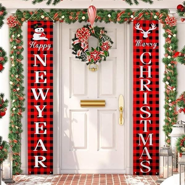 Banner Banner Merry Decorazioni per la casa all'aperto appeso ornamenti natalizi natalizi regali navidad Capodanno 2021