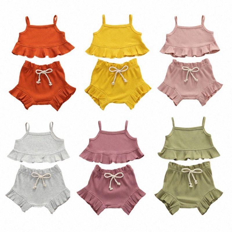 6 Süßigkeit-Farben-Sommer-Baby-Kleidung Kleinkind Neugeborenes Kind-Baby 2pcs Kleidung stellt Solide Ruffle Sling Top Shorts Outfits Sets Hot a4I2 #