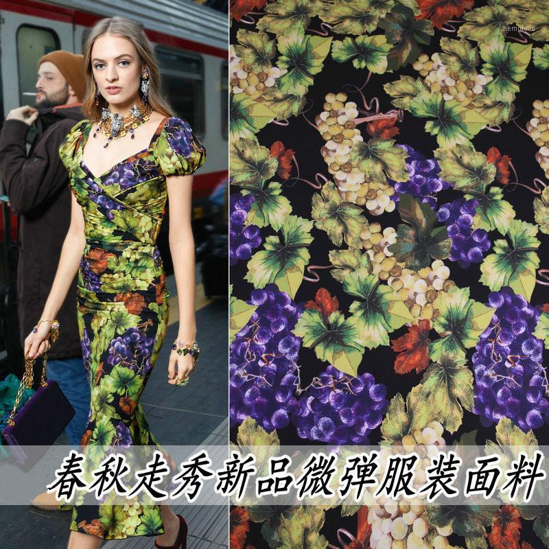 Тканевая пружина и осень микроэластичная драпировка виноградной печати одежда ручной работы сумка бедра платье полиэстер1