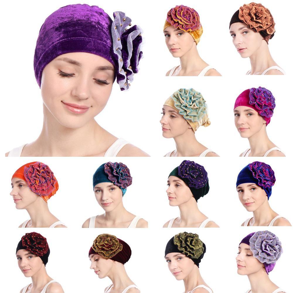 여성 단색 구슬 벨벳 인도 모자 스트레치 꽃 이슬람 암 항암 치료 비니 이슬람 스카프 터번 가을 겨울 랩 캡