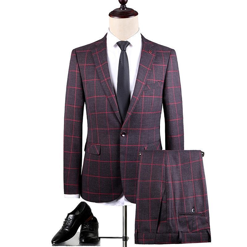 Costumes pour hommes Blazers Automne Hommes Slim Fit Two-Piece Ensemble, Partie de mariage Homme Suit Blason Veste de blazer et Pantalon Red Gris Taille S M L XL XXL XXX