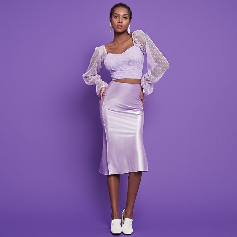 2021 Nouvelle jupe de style Spring Automne Drapé Satin Purple Moyen Longueur High Taille Hip Wrip Enveloppe A-Line Jupe Plus Taille
