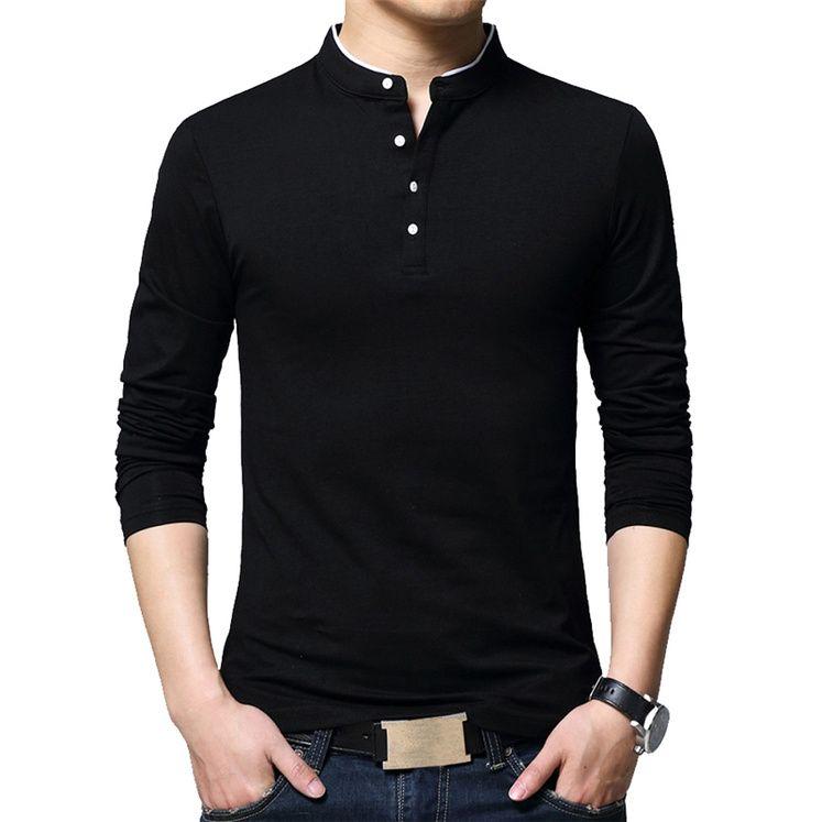 Marke Herbst Casual Herren T-shirts Mode 2020 Verkauft Farbe Mandarinenkragen Langarm T-Shirt Luxus Plus Größe M-5XL KG-125