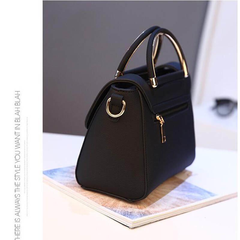 SMOOZA Women handbag new fashion shoulder bags for lady solid totes cute shopping messenger bag lock black red color hand bags 200929