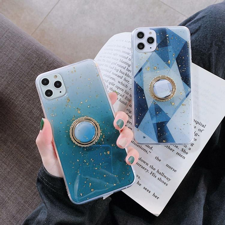 Folha de ouro de luxo bling de dedo anel caso de telefone para iphone 12 11pro maxx xs max xr 8 mais suporte de glitter suporte macio tampa
