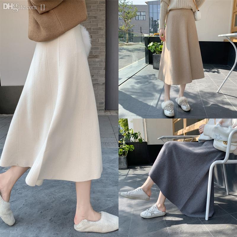 F24HX CRRIFLZ Midi ginocchio ginocchio dimagrante per maglieria lunghezza vita gonna gonna copertura del cavallo con cintura moda ladies coreano ladies alto chiffon stampa a lungo