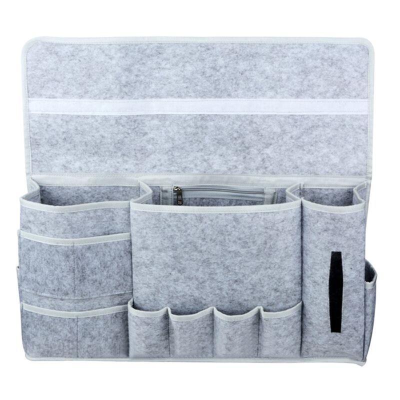 Nuovo 12 Pocket Bedside Bedside Felt Sacchetto di stoccaggio Tavolo Cabinet Archiviazione Organizzatore Telecomando Telecomando Ambientale