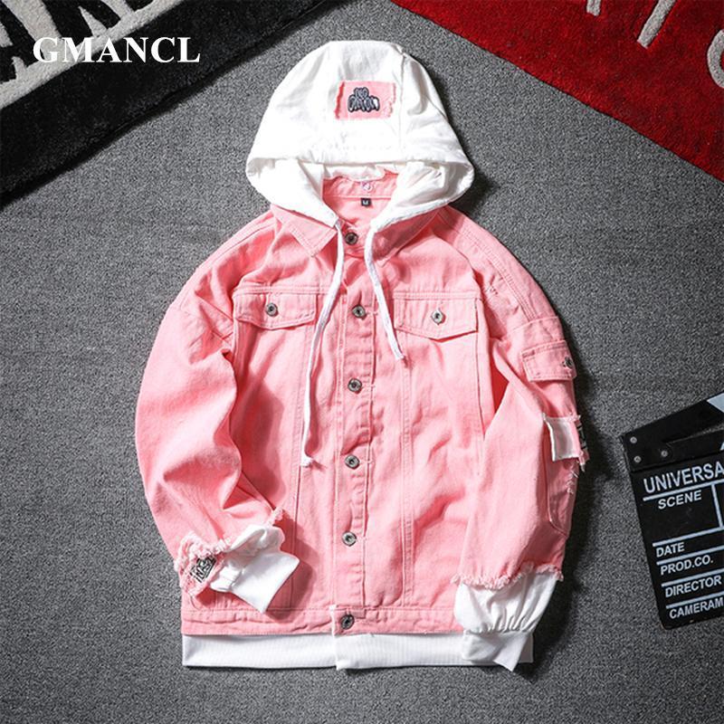 Giacche da uomo Giacche da uomo Donne 2021 Primavera Falso Due pezzi Cuciture Pink Rosa Giacca con cappuccio con cappuccio Jacks Jacket Hip Hop Swag Swag Fori allentati Cappotti casual