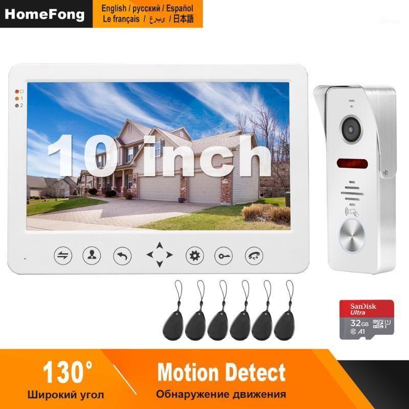HomeFong Video Door Phone Wired Video Intercom para casa 10 polegadas Monitor Camera Camera Support Motion Detect Record / CCTV Camera1