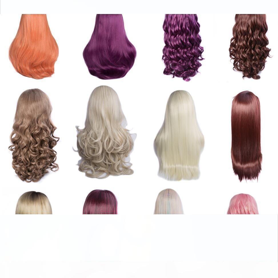 Moderne Voir 13 Styles synthétique Lace Front Wigs Vente Corps droit en vrac Eau Yaki perruques de cheveux synthétiques