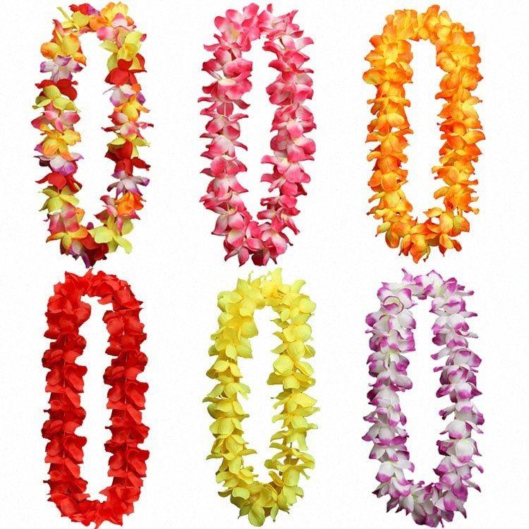 Hawaïenne Collier fleur hawaïenne Leis artificielle Garland Hawaii Beach Party Decoration Fancy Dress Luau # Fournitures 8DQj