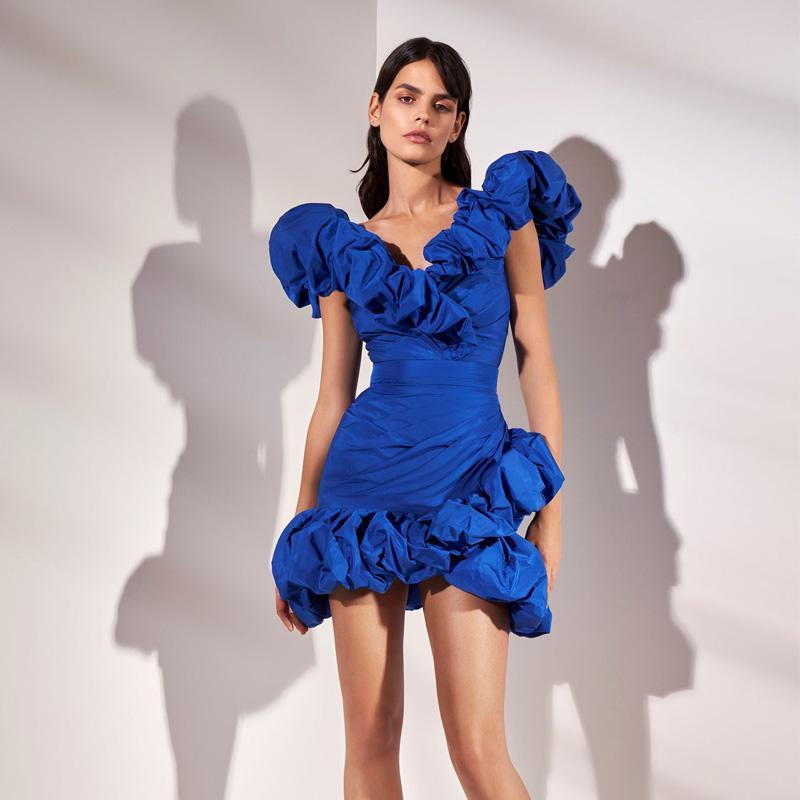 Zuhair Murad Promkleider Royal Blue Rüschen V-Ausschnitt Mini-Partei-Abend-Kleider Kurze Backless Nixe Kleider Roben de soirée