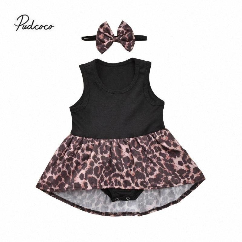 2020 2020 0 Mignon 24M Nouveau-né Bébés filles Leopard Romper Robe sans manches patchwork Jumpsuit Palysuit Robe avec bandeau HCJB #
