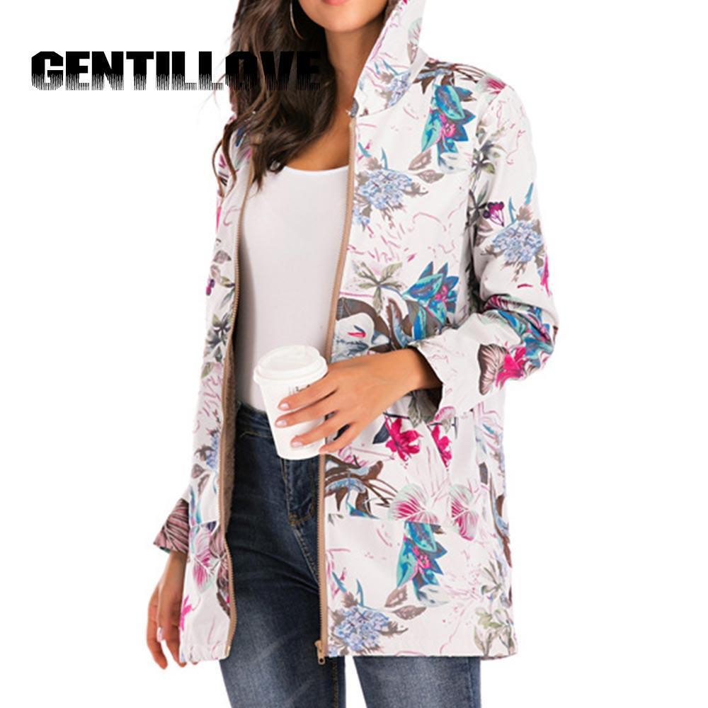 Kadın Ceket Peluş Ceket kadın Rüzgarlık Kış Sıcak Dış Giyim Çiçek Baskı Kapüşonlu Cepler Vintage Boy Palto PlusSize 5XL LJ200813
